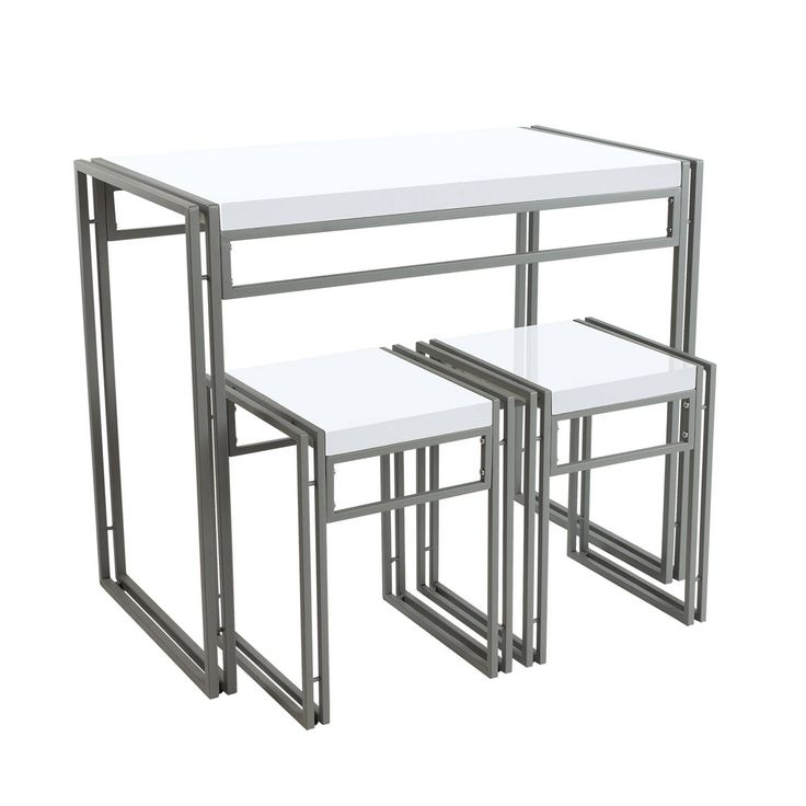 Atlantic Urban Small Dining Table Set, White, Size 3-Piece Sets