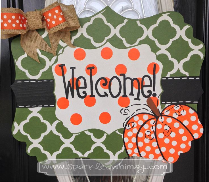 Fall Door Hanger: Quatrefoil Pumpkin Welcome Sign by SparkledWhimsy on Etsy
