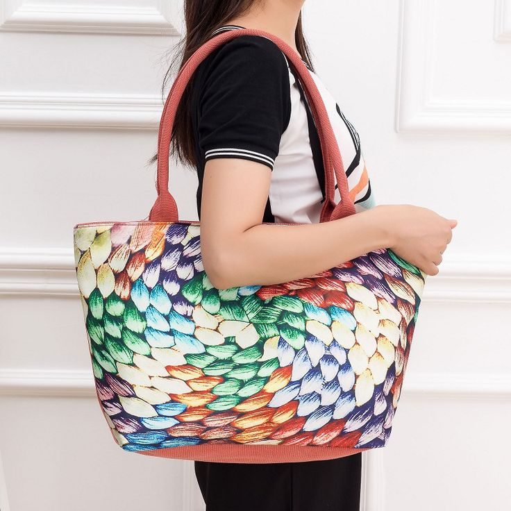 High Quality Floral Printed Canvas Tote Handbags Casual Women Single Shoulder Bags Large Capacity Female Canvas Beach Bag H42