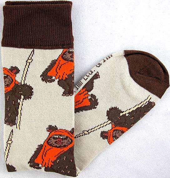 Star Wars Wicket Ewok Pattern Men's Crew Socks Shoe Size 6-12