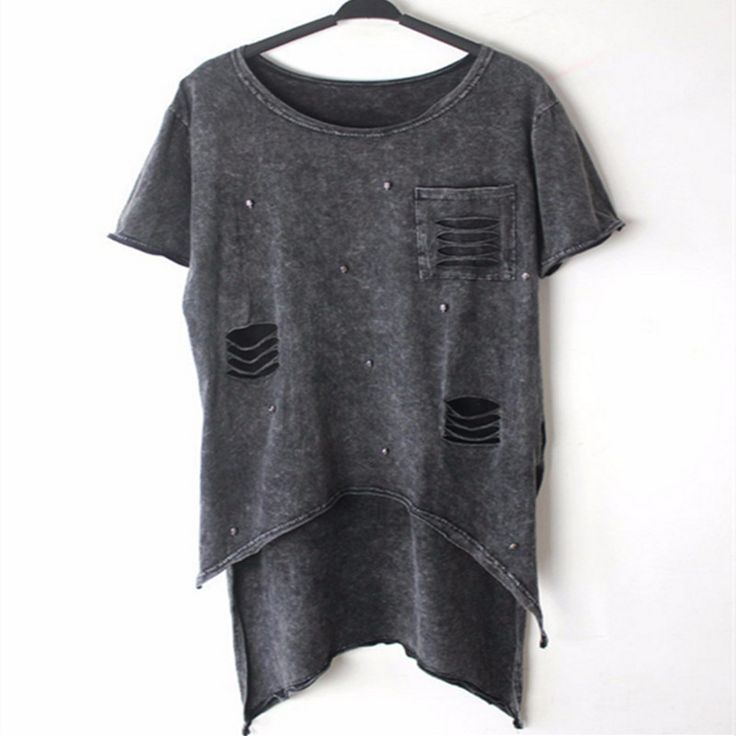 >> Click to Buy << Summer women's t shirt tops tees women t shirt  Howllow Out Rivet Rock ropa Punk Woman Clothes Metal skull With pocket T shirts #Affiliate