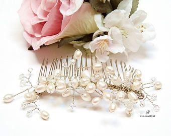 Bruidshaarkam Ivoor parels. Haarsieraad ivoor kristal bruid. Parel haarkam voor bruid. Ivoorkleurige haarsieraad bruid. Kado voor bruid.