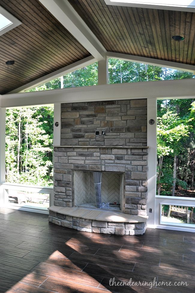 Best 25 porch fireplace ideas on pinterest house porch for Screen porch roof options
