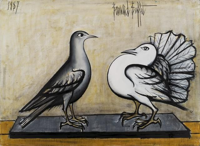 Bernard Buffet (1928-1999) Pigeon gris et pigeon paon 28 5/8 x 39 1/2 in (72.7 x 100.3 cm) (Painted in 1987)