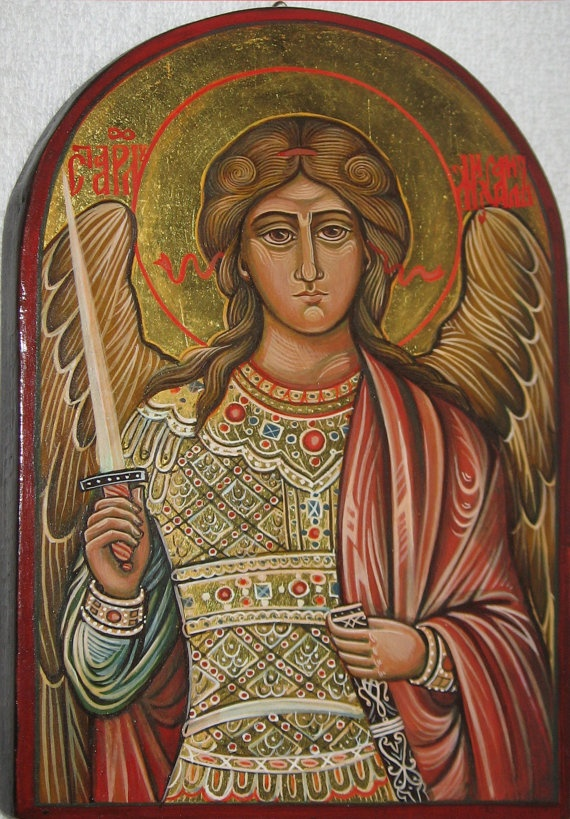 Archangel Michael Byzantine icon handpainted by ByzantineArt, $180.00