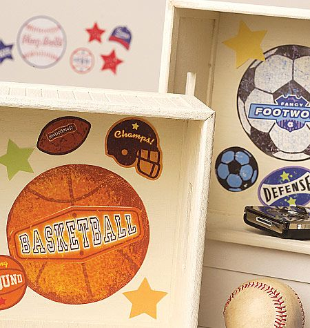These sports stamps vinyl decals by wallies are a great touch in a sports fans room