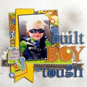 Boys Rule Scrapbook Kits: Little Boy kit layout by Abby!