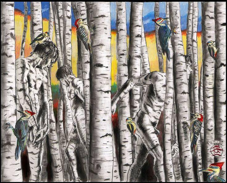 """""""Poika puusta, Lost"""" (Uusi työ paperilla Philip Gladstone: kynä-ja-muste, hiili, vesiväri ja värikynä kanssa kaavittu kohokohtia valkoinen savi-päällystetty paperi, 9-7 / 8 12-¼ tuumaa   ...Riska Y"""