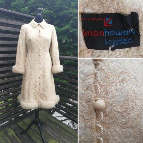 Vintage retro kappa vinter-kappa beige brokad päls vackra knappar Imon  Howard df8c60bbab3a5