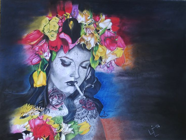 Floppy Flowers - 77 x 110cm - pastel, pencil and Ink
