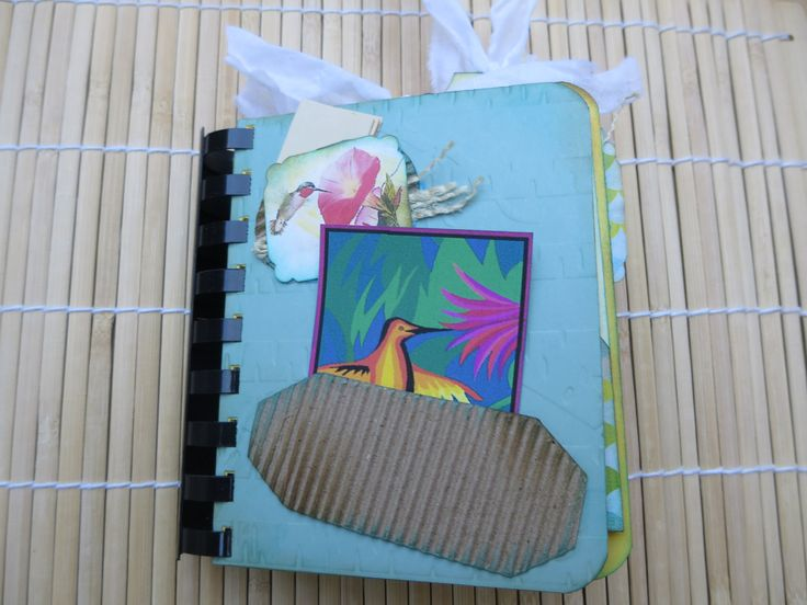 Hummingbird Handmade Small Journal Notebook Scrapbook Smashbook Sketchbook, Unique Mini Album Handmade Diary Nature Journal by Maroonmanx on Etsy