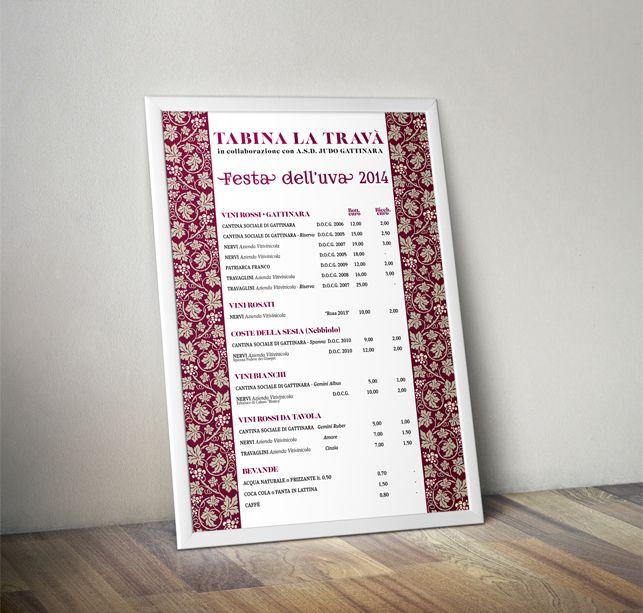 Lista dei vini per Tabina la Travà - Festa dell'Uva di Gattinara