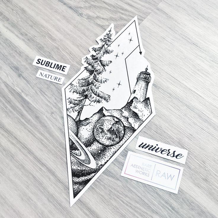 Dotwork tree galaxy mountain lighthouse tattoo design, more designs at SKINQUE.COM