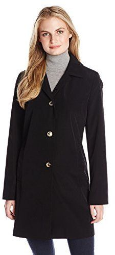 $80, Black Trenchcoat: Calvin Klein Single Breasted Raincoat With Hood. Sold by Amazon.com. Click for more info: https://lookastic.com/women/shop_items/307049/redirect
