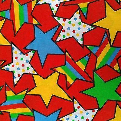 "Cotton Stars Stripes Polka Dots Red Yellow Blue Green Fabric 62""x42"""