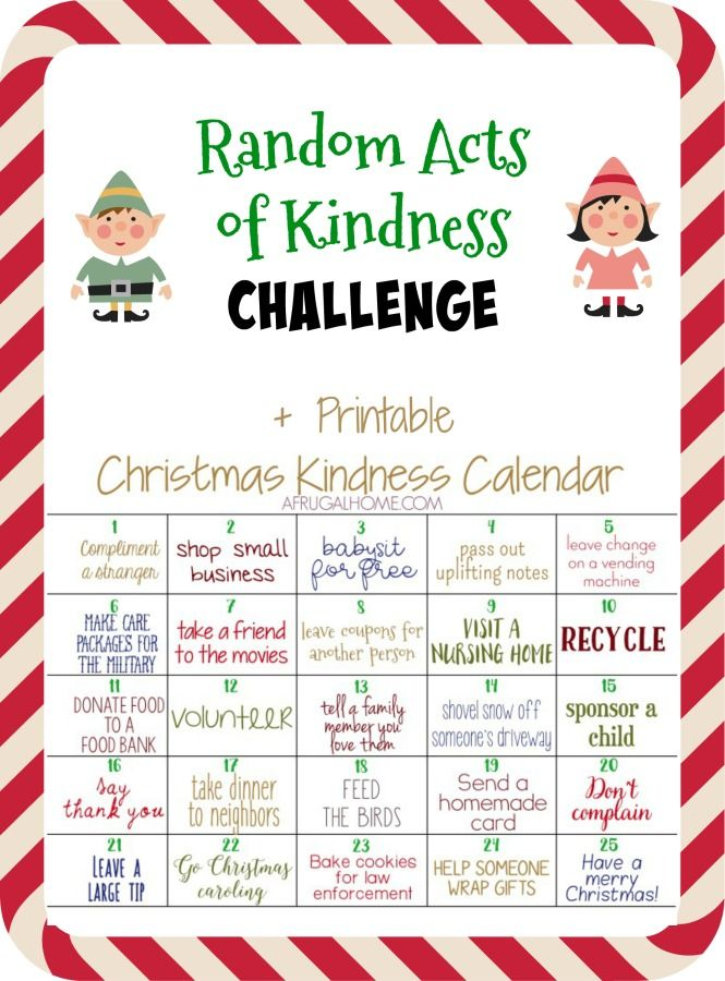 Give back this Christmas season by challenging yourself with this printable advent calendar full of 25 ideas to spread Random Acts of Kindness.