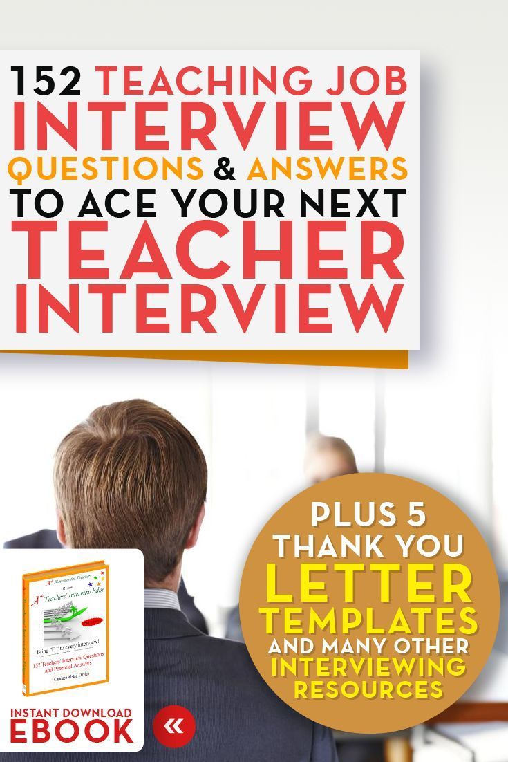 Teaching Job Interview Questions and Answers eBook 152 teacher interview questions and answers A+ Resumes for Teachers Click…