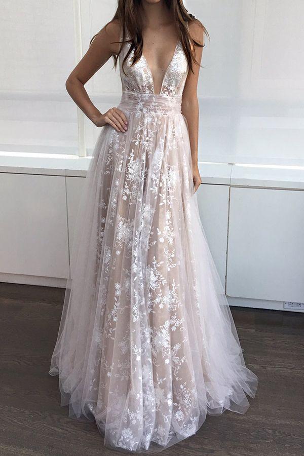 Elegant Champagne A-Line V-Neck Sleeveless Appliques Long Prom Dress