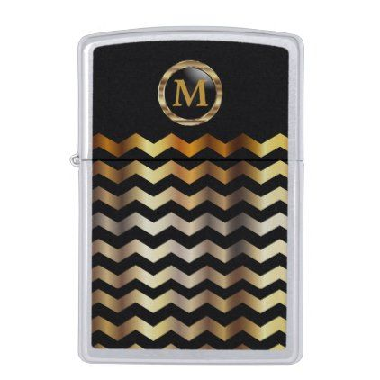 #monogrammed - #Monogram Black & Gold Chevron Stripes Zippo Lighter