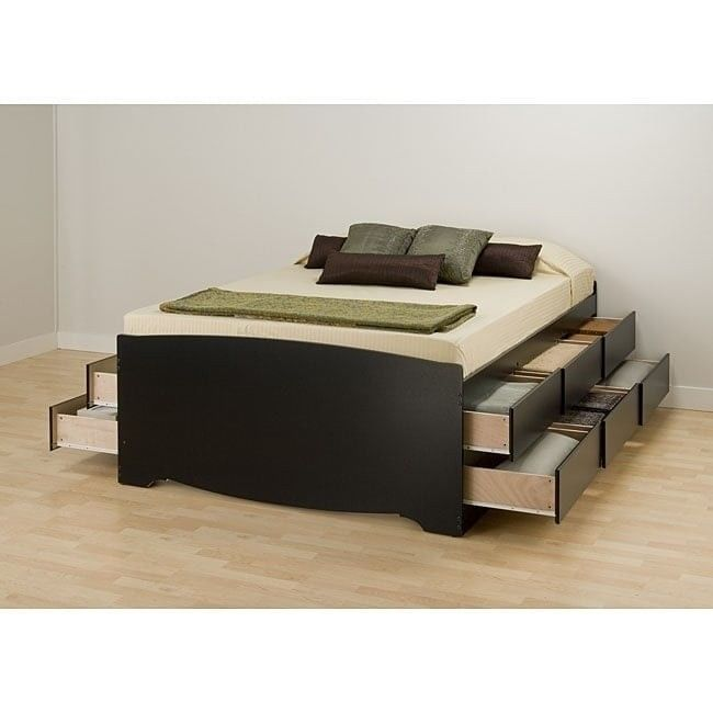 Queen Size Platform Storage Bed Plat Form Bedroom Furniture Captain Space  Savers