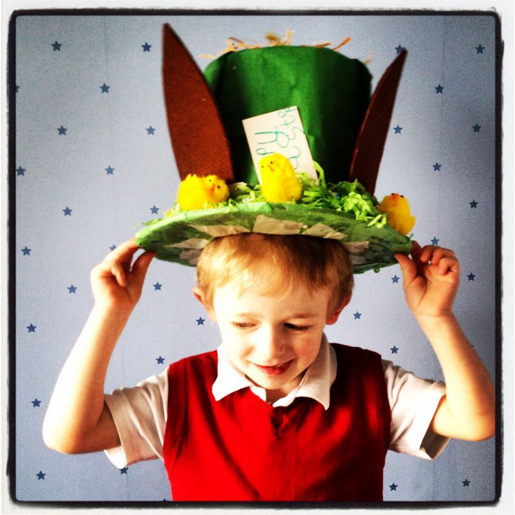 Mad Hatter inspired easter bonnet hat for a boy.