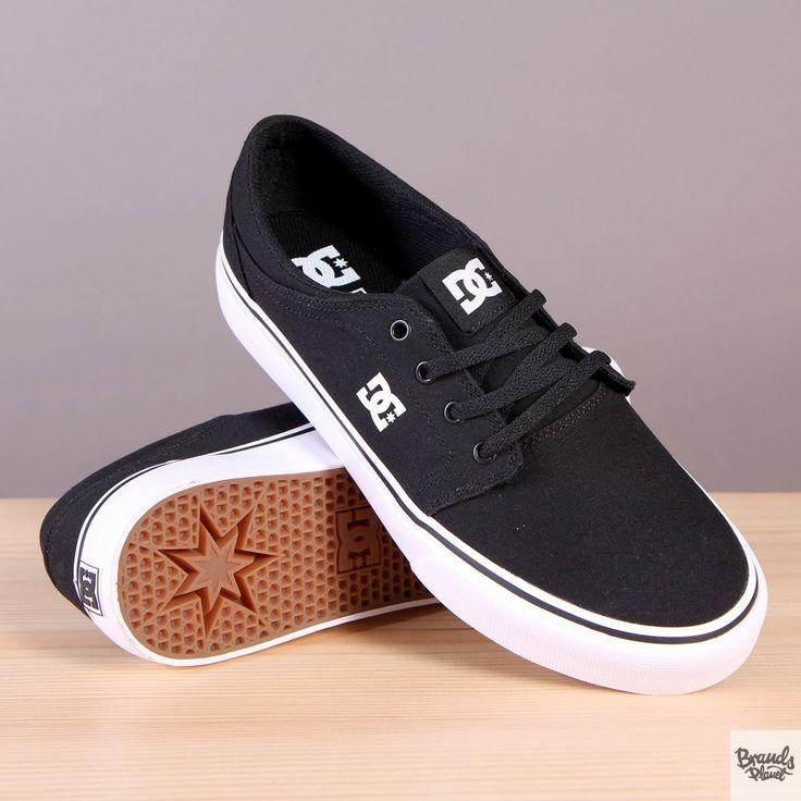Czarne trampki męskie na białej podeszwie DC Trase TX Black / White  / www.brandsplanet.pl / #dc shoes #dc trase