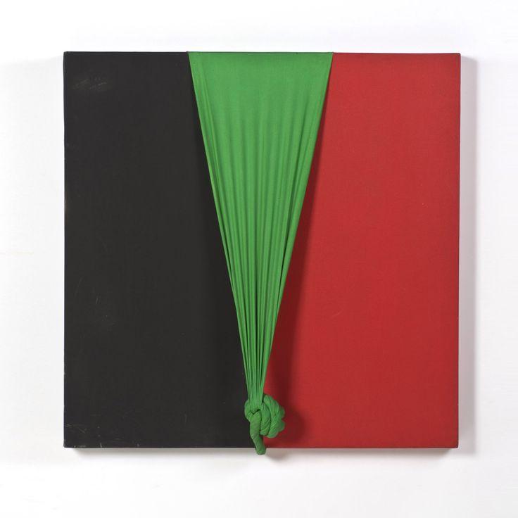 Jorge Eielson (1924-2006) Quipus 37-R-1, 1973 Technique mixte sur bois Signé, daté, situé Paris 1973 au dos 80 x 80 cm