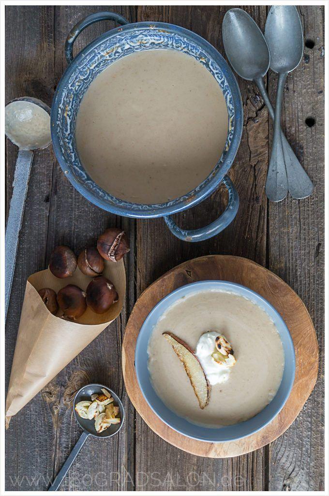 Rezept für Maronencremesuppe mit gebratener Birne Vorspeise Gäste Weihnachten