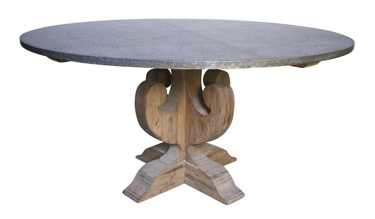 curlin dining table with hammered zinc top 60 inch