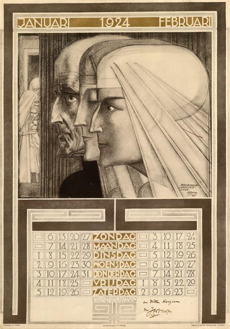 Jan Toorop's 1924 Calendar, unique way of showing the dates