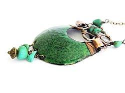 Enamel necklace - forest green by Boroka Halasz
