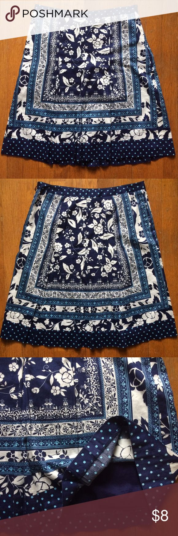 LOFT Blue and White Skirt Wasn't worn many times. Quality made skirt. 100% cotton. Lined. Comfortable fit. Sits on the hips. Hits a little below my knees (I'm 5'0). LOFT Skirts