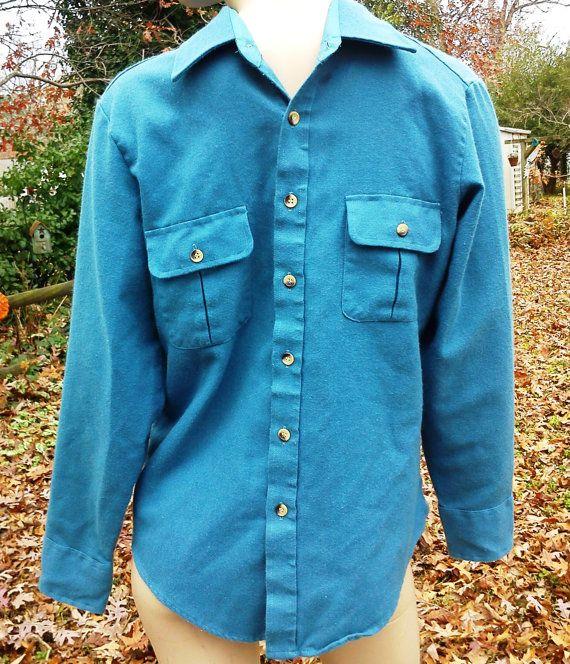 Mens 70s Shirt  Vintage Shirt  Flannel Shirt by Sears Sportswear gottagovintage1, $16.00