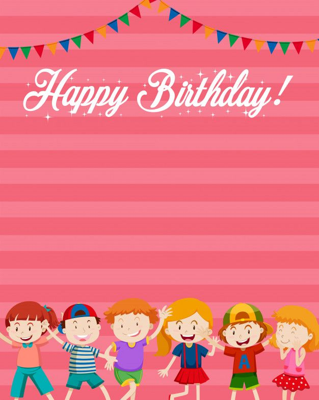 Download Children On Happy Birthday Card Background For Free Printable Birthday Invitations Free Printable Birthday Cards Birthday Card Printable