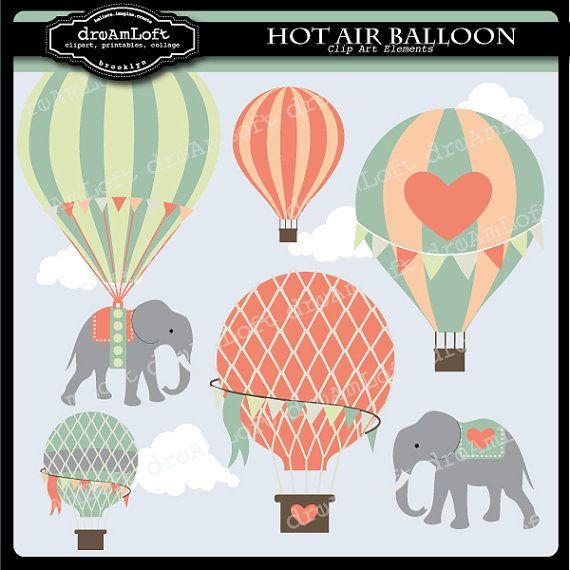 Hot Air Balloons & Elephants #vintage #printable #clipart
