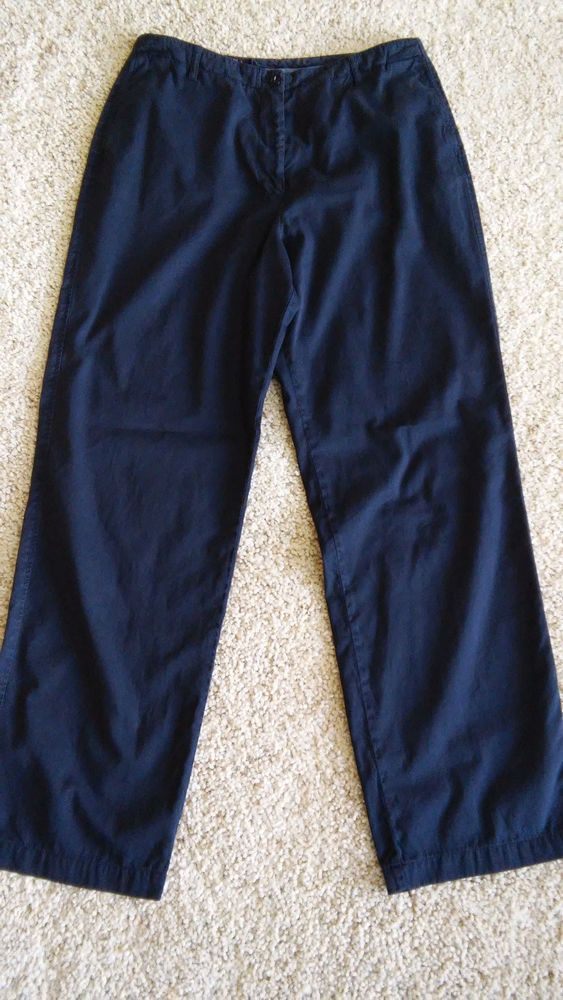 FACONNABLE Womens Black 100% Cotton Pants Size 10 Career Casual, Made in Italy #Faonnable #CasualPants