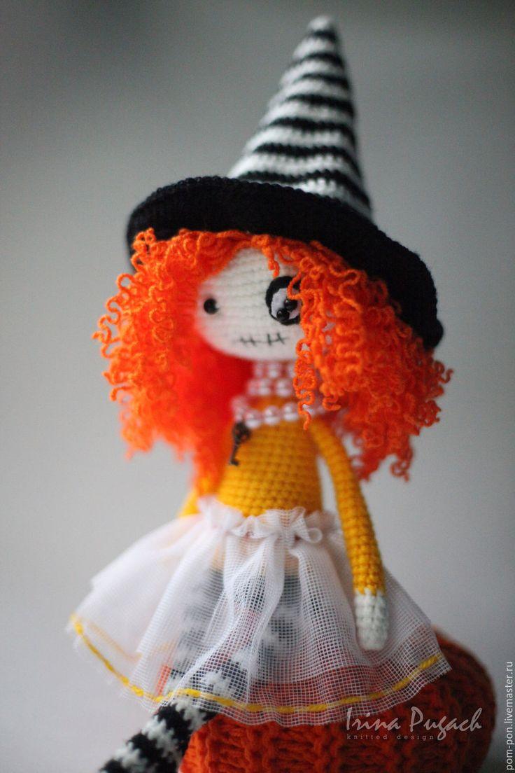Купить Ведьмочка Хэллоуин кукла вязаная ручная работа - желтый, вязаная кукла, интерьерная игрушка