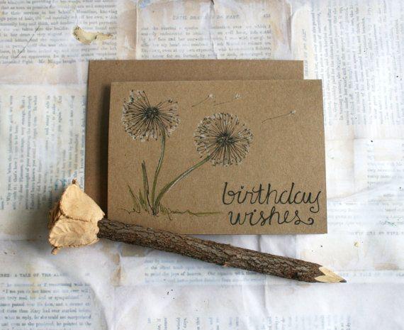 Hand Drawn Card Birthday Wishes by HandmadeDarling on Etsy, $5.75