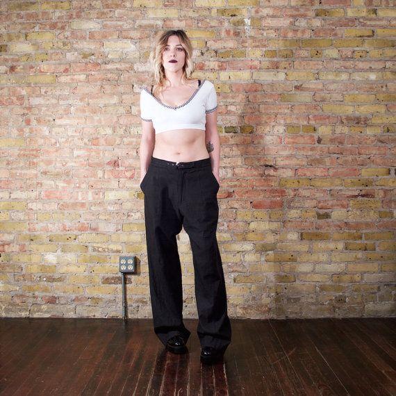 GIORGIO ARMANI 90s linen pants / black slouchy pants / mens linen pants / unisex…