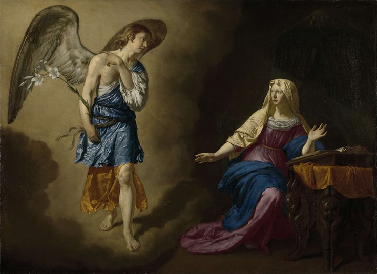 The Annunciation to the Virgin, Adriaen van de Velde, 1667 oil on canvas, h 128cm × w 176cm The intense colors on this oil paining seem to add to the illusion of an angel.  If this were to be done in charcoal, the color would not be present and the angel would not seem as real.