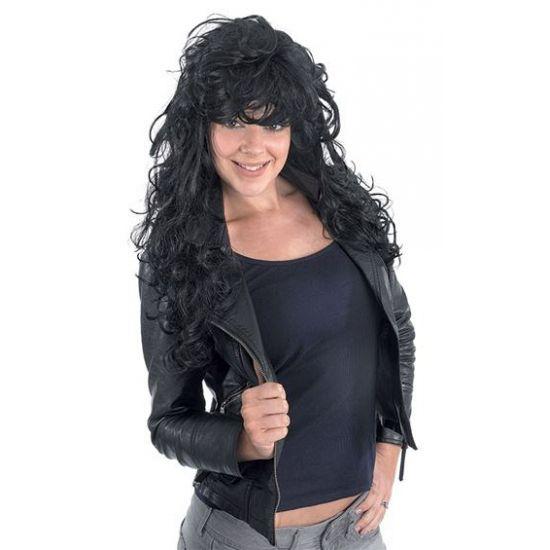 Rock chick lange pruik  Lange rock chick pruik met zwart haar. Lange pruik voor dames met rommelig rockers haar.  EUR 12.95  Meer informatie