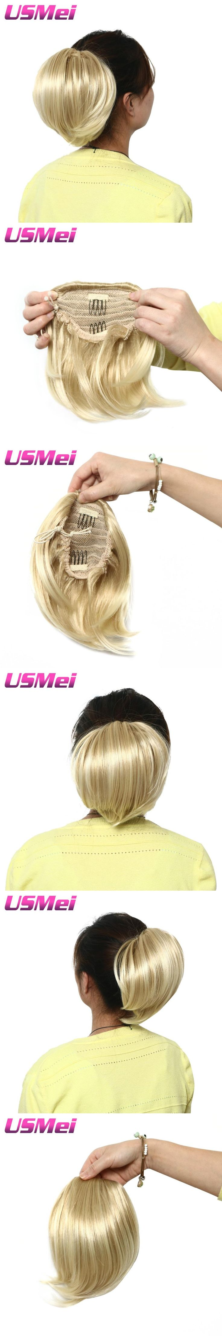 USMEI Frosted blonde short straight ponytail hair extension synthetic Claw Clip in hair piece with drawstring for every women