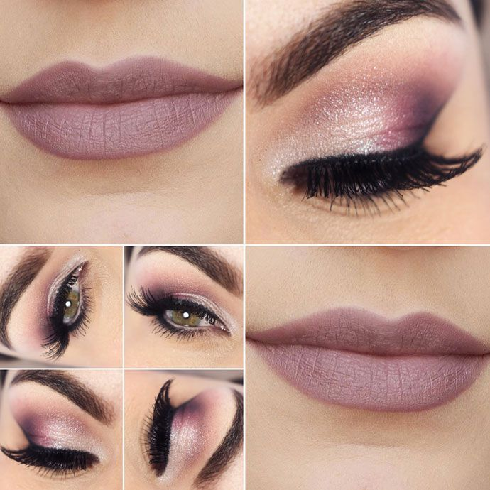 Beautiful pink makeup look. We love pairing a sparkly eye with a matte lip.