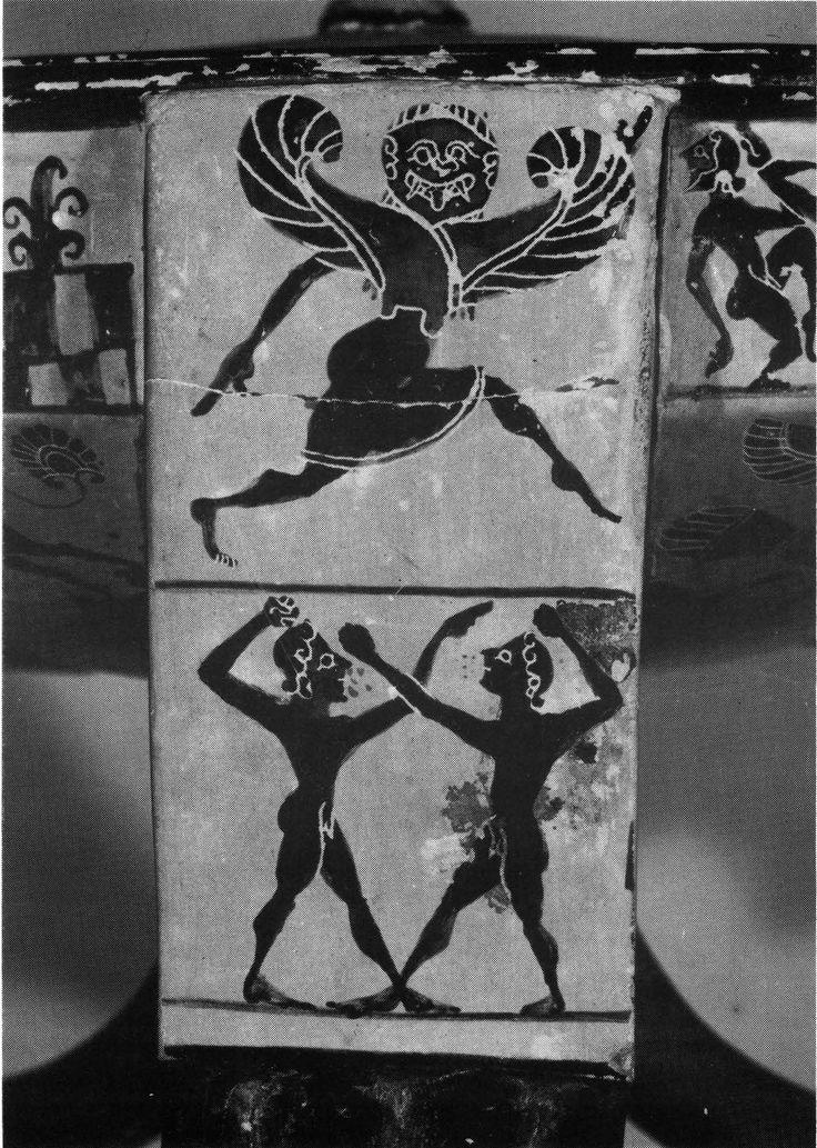 Boxing. Tripod kothon of the Boeotian Dancers Group, Berlin F1727 (Β 1). Courtesy, Antikenmuseum Berlin, Staatliche Museen Preussischer Kulturbesitz. Photograph J. Tietz-Glasgow