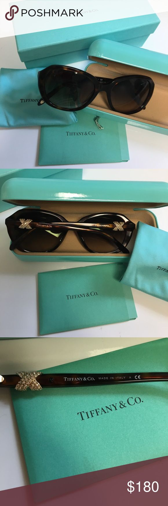 😎Authentic Tiffany&Co Tortoise Sunglasses 😎 Authentic Tiffany & Company sunglasses with pave crystals color is brown comes with dust bag certificate of authenticity and case as box Tiffany & Co. Accessories Sunglasses