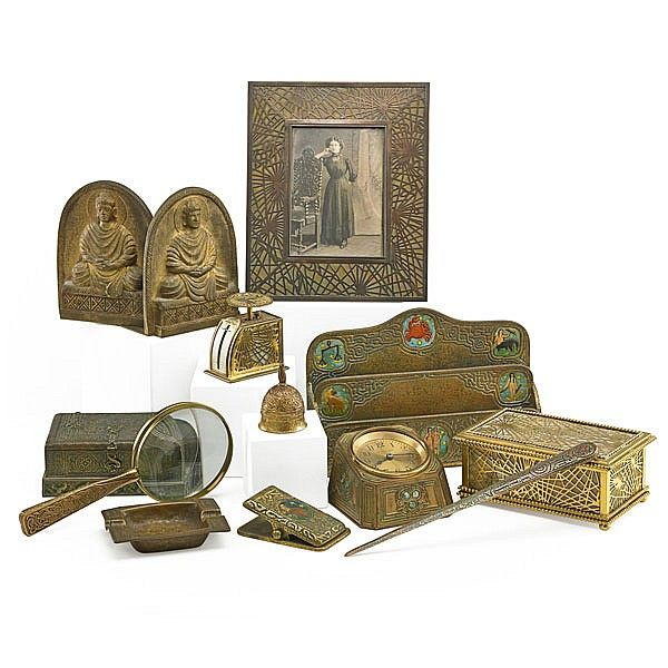 TIFFANY STUDIOS; Thirteen desk set pieces, Pine Needle jewelry box with  velvet-lined - 201 Best Tiffany Desk Set Images On Pinterest Desk Set, Leaded