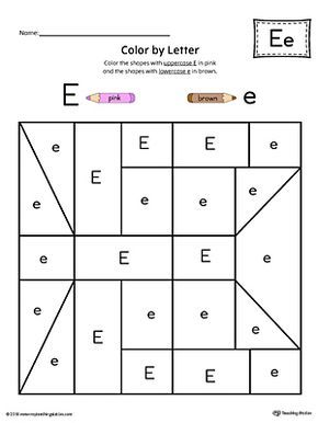 Uppercase Letter E Color-by-Letter Worksheet Worksheet.Fill your child's life with colors! The Uppercase Letter E Color-by-Letter Worksheet will help your child identify the uppercase letter E and discover colors and shapes.