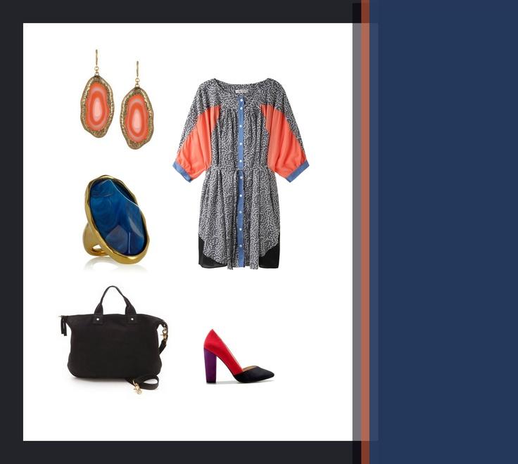 #set #outfit #stylish #clothes #coral #blue blu coral black / details / by Taki Trik
