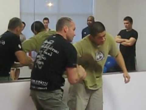 Krav Maga: Defense against Knife Threat to Throat (attacker in back)