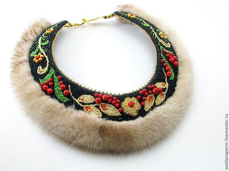 """Колье """"Любава"""" из коллекции """"Русские узоры. Хохлома"""" - разноцветный,чёрный"""